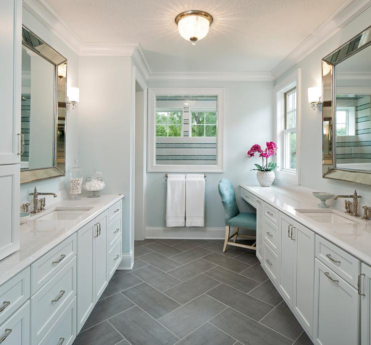 Blue And Gray Master Bathroom With Slate Herringbone Floor Tiles