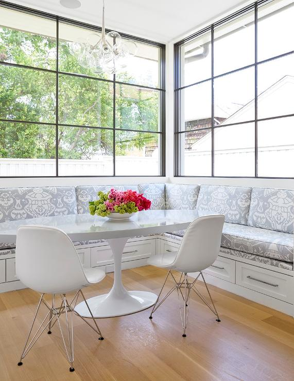 L Shaped Breakfast Banquette With Gray Ikat Cushions