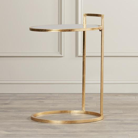 Gold Round Glass Top C Base End Table