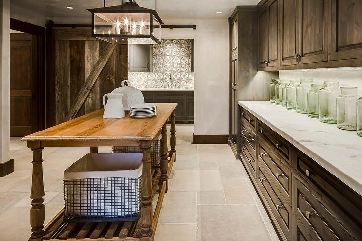 Country Pantry With Pine Cabinets And Honed White Marble Countertops