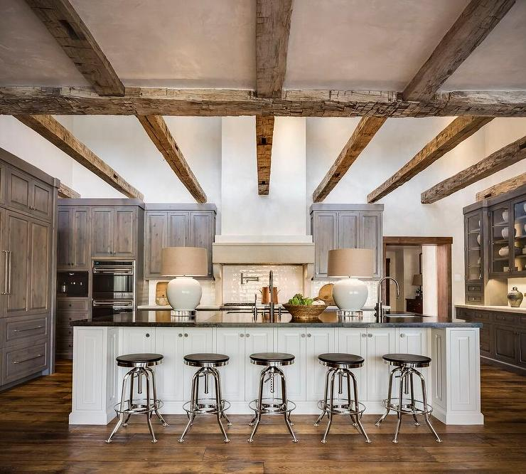 Country Style Kitchen With Rustic Wood Ceiling Cross Beams