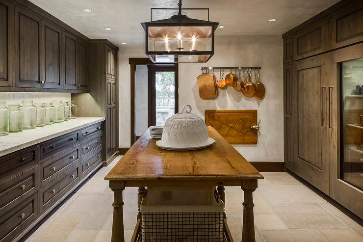 Country Style Kitchen Pantry With Freestanding Island