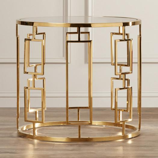 Round Mirrored Gold Geometric End Table