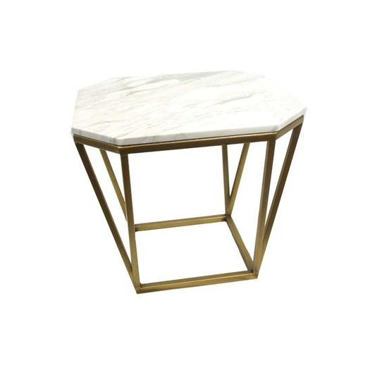 Faux Marble White And Gold End Table