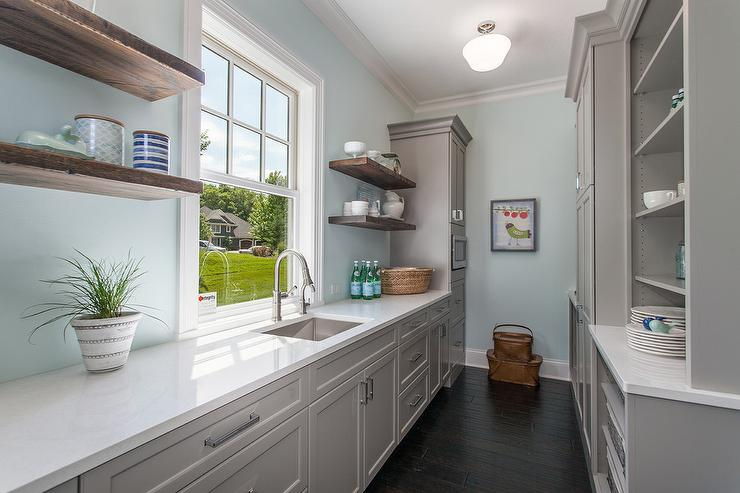 Gray And Blue Kitchen Pantry With Schoolhouse Pendant Transitional