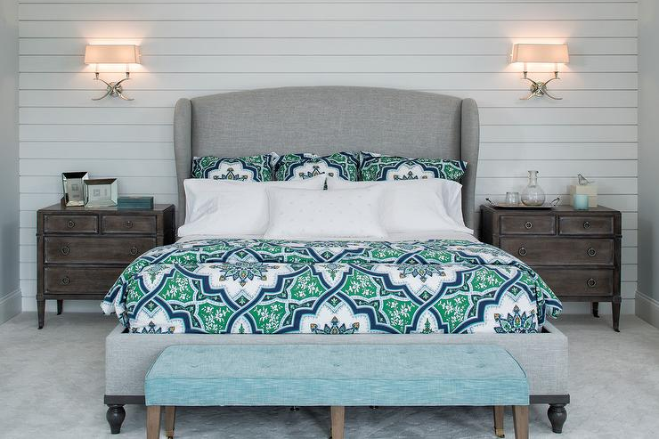 Gray Wingback Bed With Aqua Blue Tufted Bench