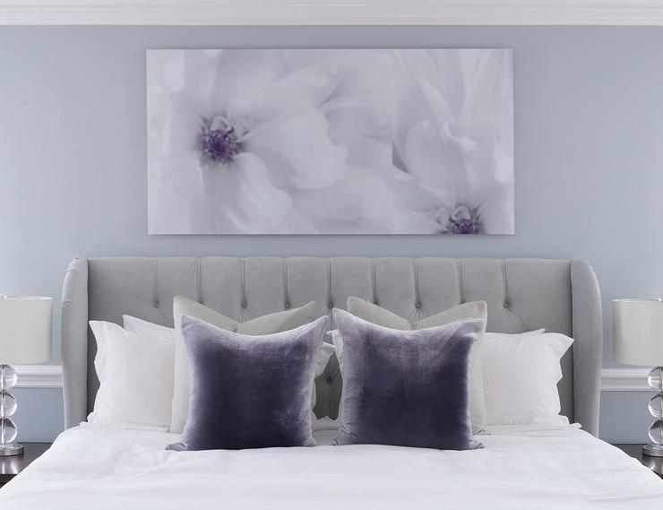 Gray Bedroom With Purple Accents Contemporary Bedroom