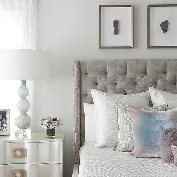 Gray Bedroom With Purple Accents headboards ikea - contemporary - bedroom - decor demon