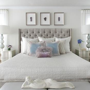 Susan Glick Interiors · Gray Velvet Tufted Bed With Silver Nightstands
