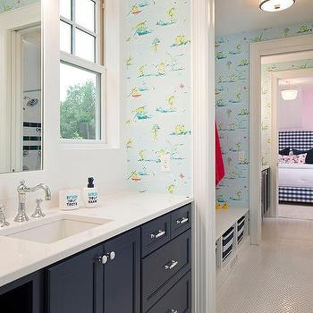 Blue Kid Bathroom With Thibaut Resort Frogs Wallpaper