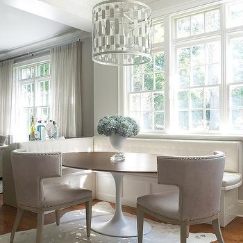 Susan Glick Interiors · White And Gray Dining Nook With White Tufted Built  In Banquette
