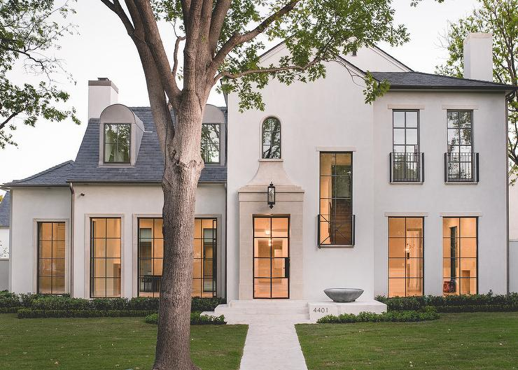 Modern french home exterior transitional home exterior for Modern gray house exterior