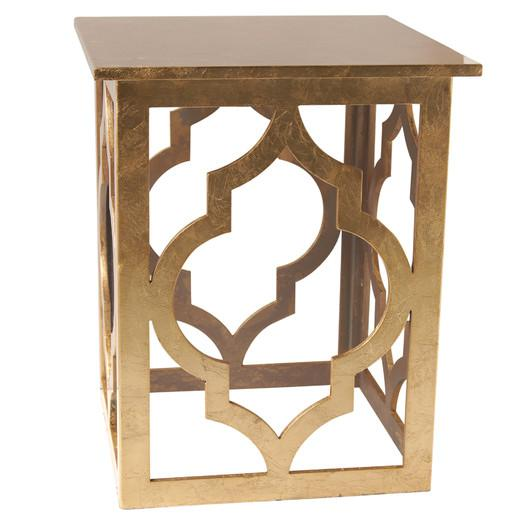 Golden Quatrefoil Motif Openwork End Table
