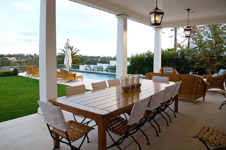 Rectangular Patio Dining Table With Slatted Seat Outdoor Dining - White rectangular outdoor dining table