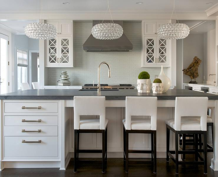White Kitchen Island with Pietra Cardosa Soapstone Countertops ... on