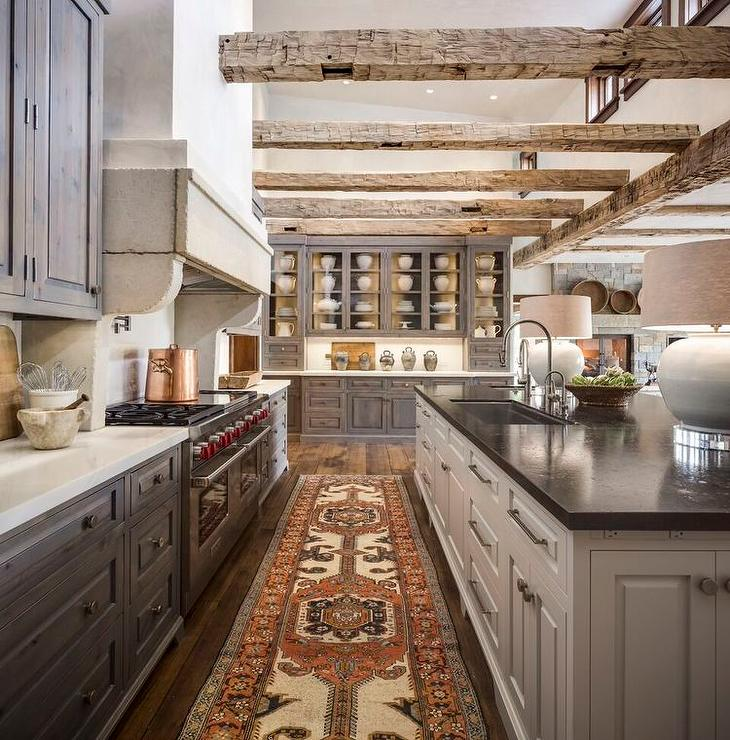 Country Kitchen With Gray Stained Pine Kitchen Cabinets