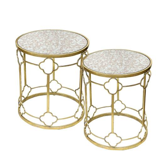 Gold Trellis Glass End Table Set