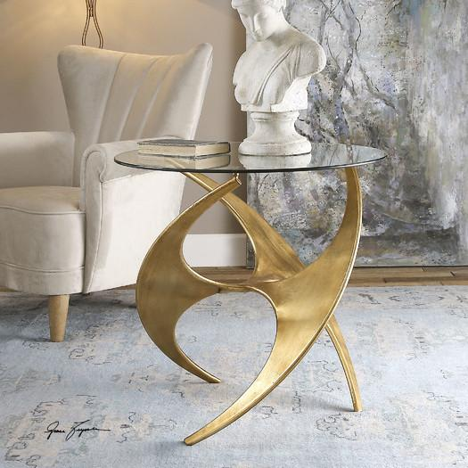 Gold Sculptural Base Glass Top End Table