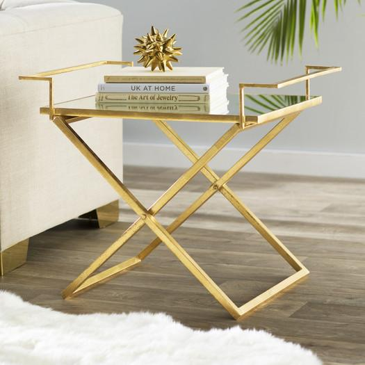 Gold Frame Mirrored Tray End Table View Full Size