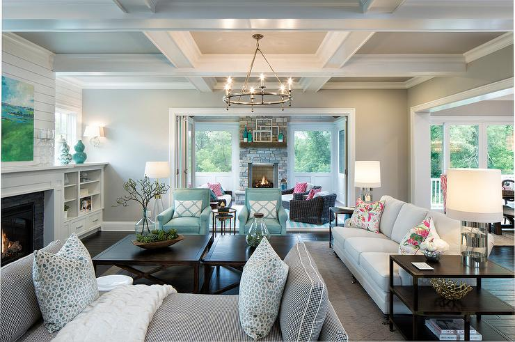 Gray and Blue Living Room with White Plank Coffee Table - Cottage ...