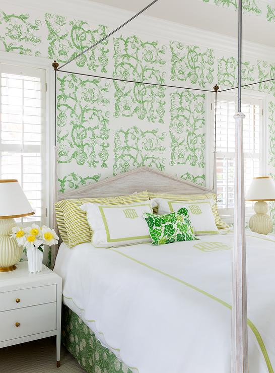 Yellow and green bedroom with studio printworks syrie for Green bedroom wallpaper