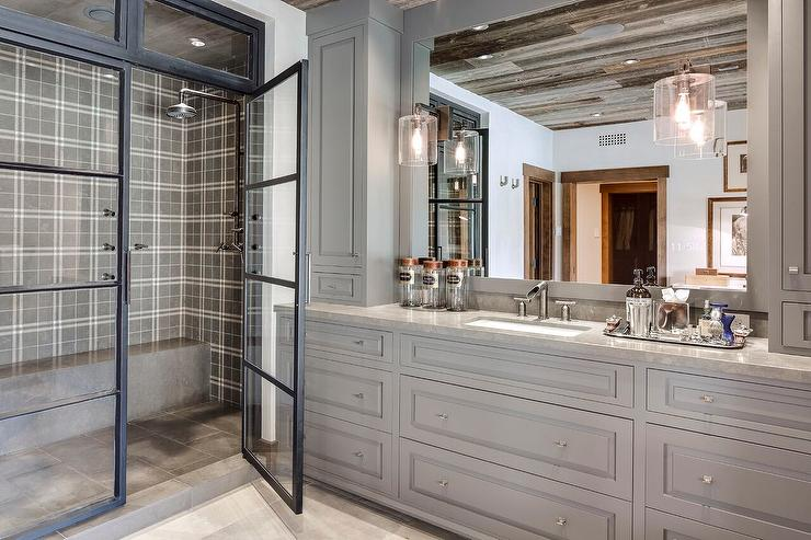 Country Style Bathroom With Gray Plaid Shower Tiles