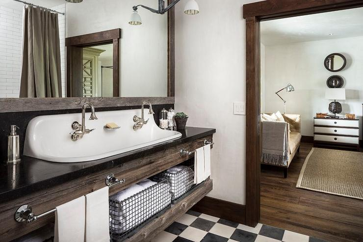 Country Style Bathroom with Reclaimed Wood Sink Vanity with Trough Sink