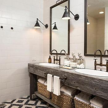 Country Style Bathroom With Reclaimed Wood Dual Vanity