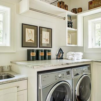 Awesome Cottage Laundry Room With Tension Drying Rod Over Enclosed Washer And Dryer Part 29