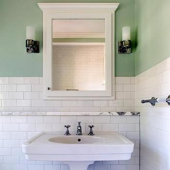 Over The Sink Shelf Bathroom. White And Green Bathroom With Marble Ledge Shelf Over Sink