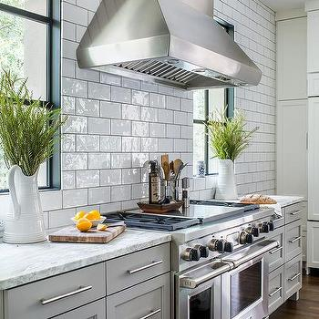 Light Gray Kitchen Cabinets with White and Gray Granite Counters : kitchen-with-subway-tile - designwebi.com