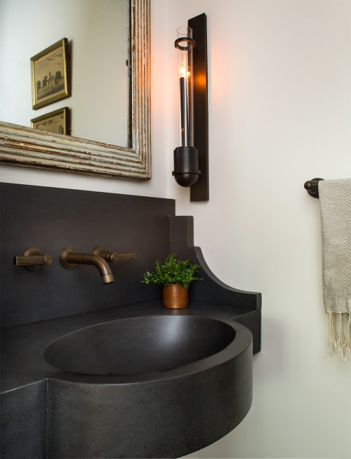 ... Wall Mount Sink And Aged Brass Faucet View Full Size