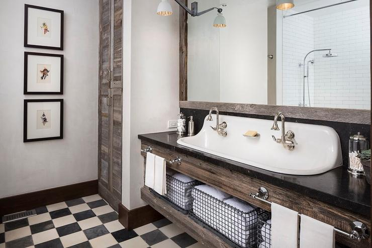 reclaimed-wood-bath-cabinets-black-white-checkered-floro-tiles White Cabinets Bathroom
