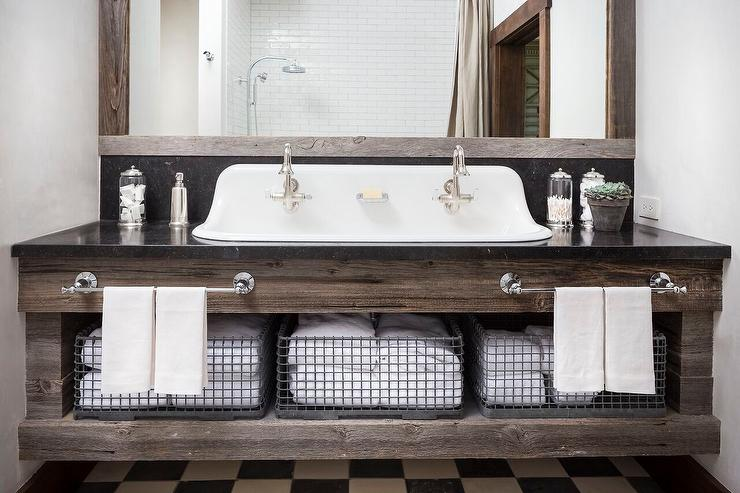 Reclaimed Wood Bath Vanity With His And Hers Towel Bars