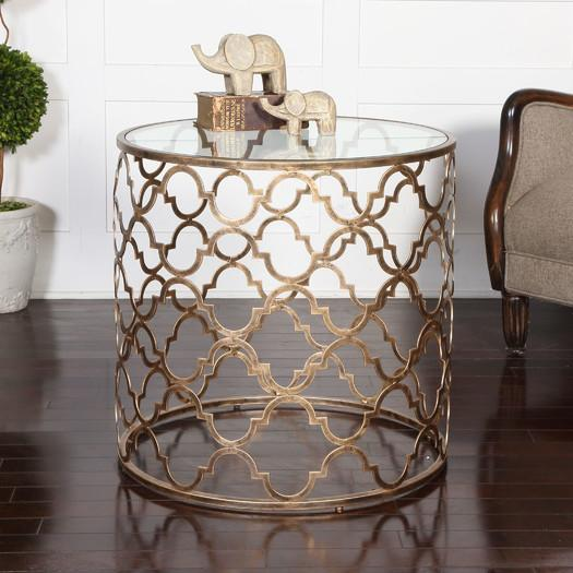 Nice Gold Quatrefoil Openwork Glass Round End Table