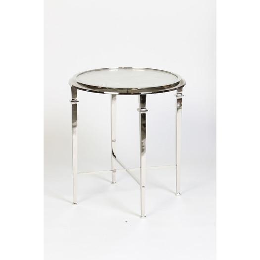 White Granite Round End Table
