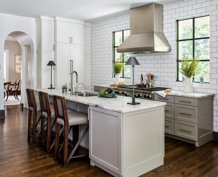 Gray Kitchen Cabinets With Satin Nickel Cup Pulls Transitional Kitchen