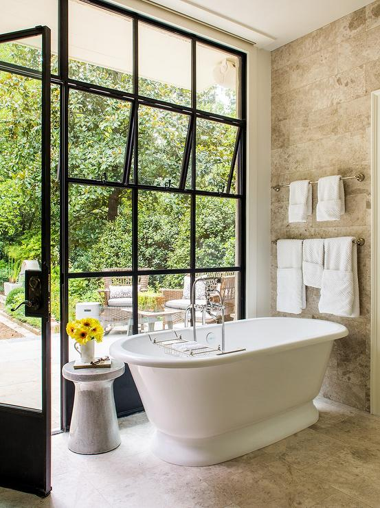 Whimsical Bathroom With Factory Windows Transitional