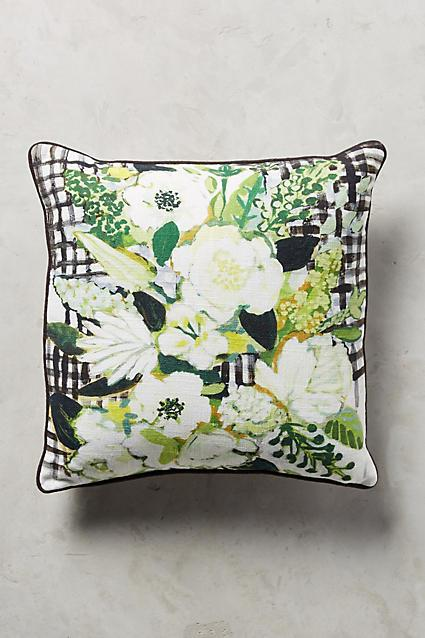 Green And White Flowers Pillow