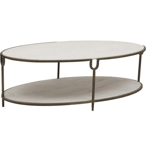 Charming Global Views Iron Stone Oval Coffee Table View Full Size