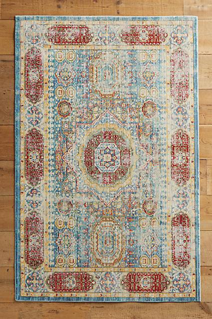Elegant Blue And Red Geometric Print Rug
