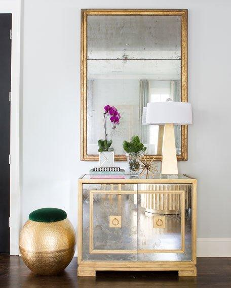 - Gold Lined Antique Mirrored Cabinet