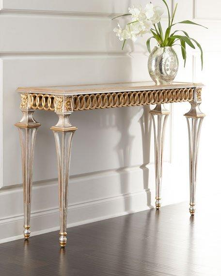 Antique Gold Circle Design Console Table