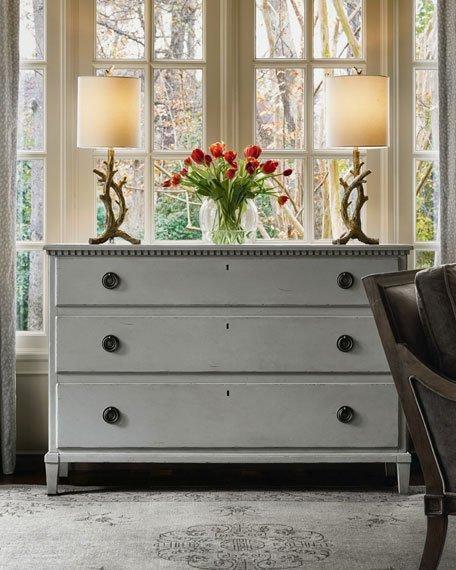 Gray Three Drawer Wide Dresser