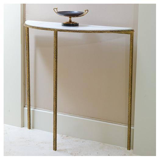 Gold Base Gray Faux Shagreen Console Table