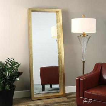 Product details gold capiz floor mirror for Gold frame floor mirror