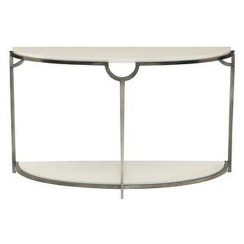 Demilune Off White Marble Console Table