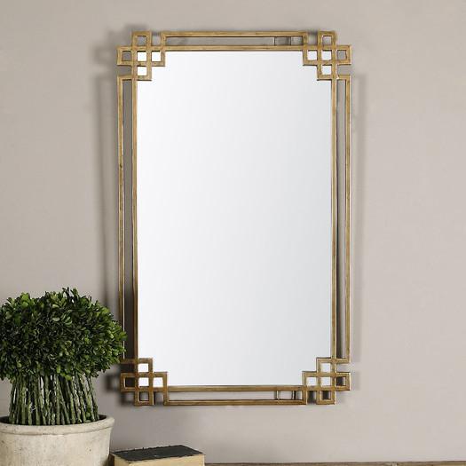 Gold Geometric Ornate Frame Mirror