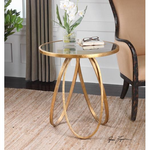 Round Glass Gold Oval Base End Table
