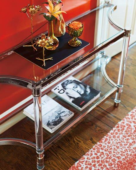Silver Lined Glass Two Tiered Console Table